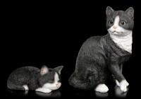 Katzen Figur - Sitzend schwarz-weiß
