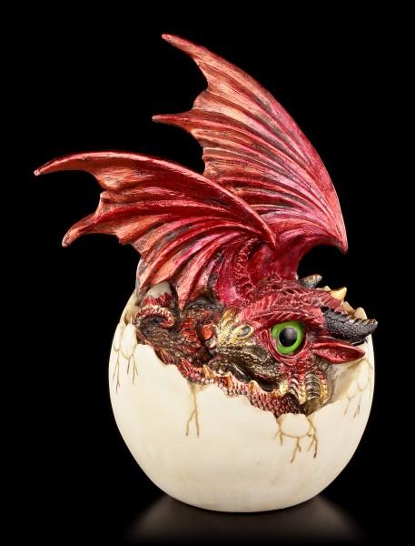 Drachen Figur rot - Goald in Eierschale