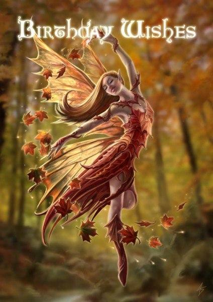 Elfen Geburtstagskarte - Autumn Fairy