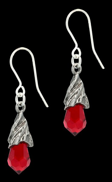 Alchemy Gothic Earrings - Empyrean Tear red