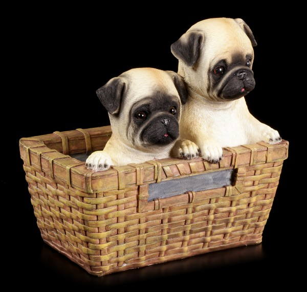 Garden Figurine Dog - Two Pugs in Basket