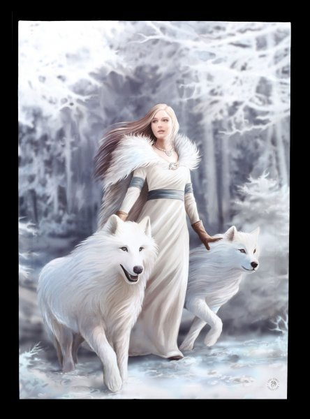 Large Canvas with Wolves - Winter Guardians