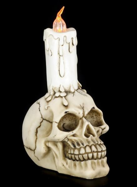 Skull with LED Candle