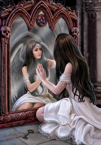 Fantasy Greeting Card Angel - Magical Mirror