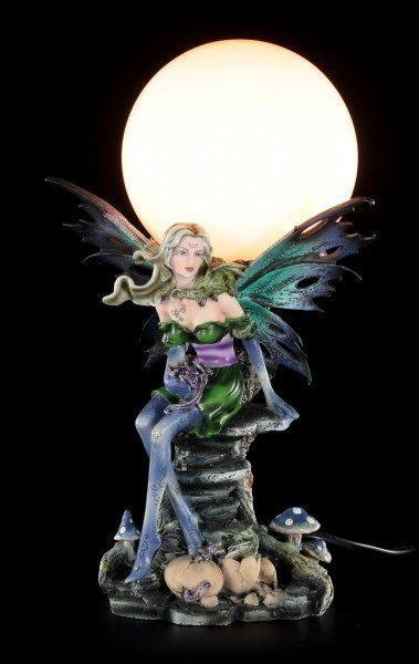 Fairy Table Lamp - Eriu with Dragon Babies on Tree Trunk