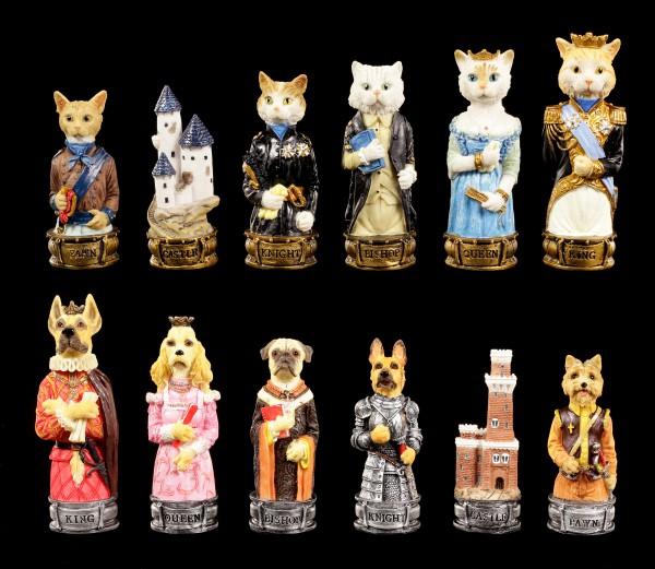Schachfiguren Set - Hunde vs. Katzen