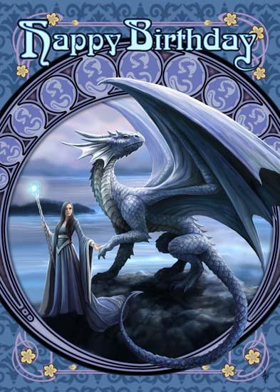 Fantasy Birthday Card with Dragon - New Horizons