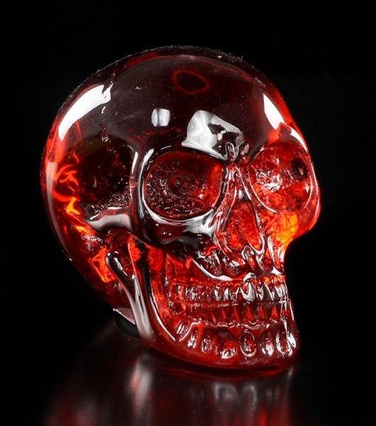 Durchsichtiger Totenkopf - rot klein