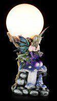 Elfen Tischlampe - Keona mit Drachenbaby auf Pilz