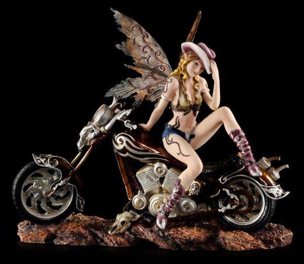 Elfen Figur mit Motorrad - Cowgirl