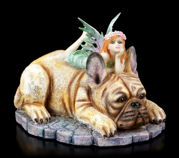 Fairy Figurine on French Bulldog - Canine Companion