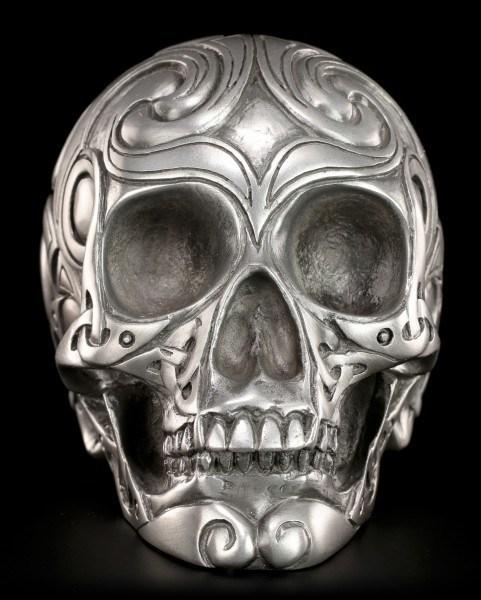 Totenkopf - Tribal Skull silberfarben mittel