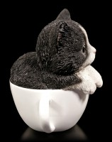 Cat Figurine - Black and white Kitten Teacup Pup