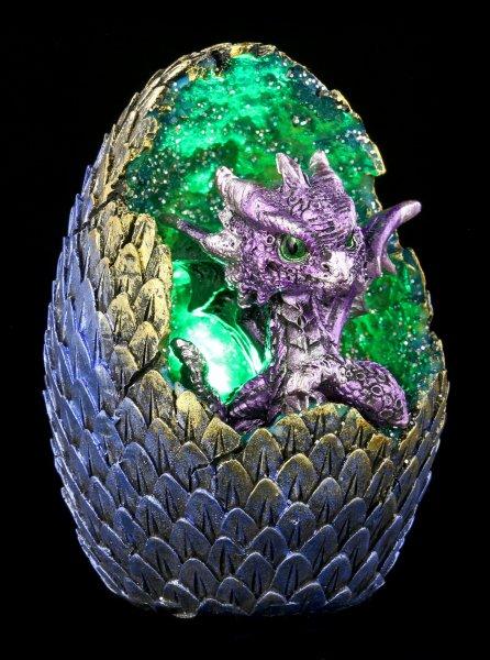 Drachen Figur mit LED - Geode Home - lila