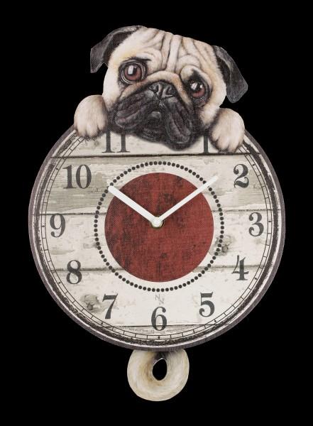 Wall Clock with Pug - Puggin Tickin
