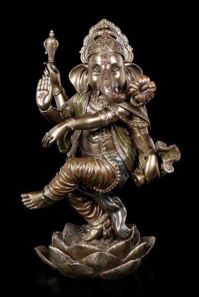 Ganesha Figurine on Lotus Flower - large