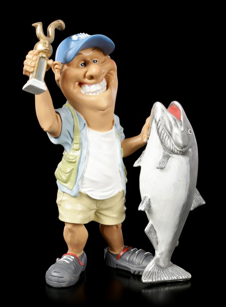 Funny Sports Figurine - Fisherman with Trophy