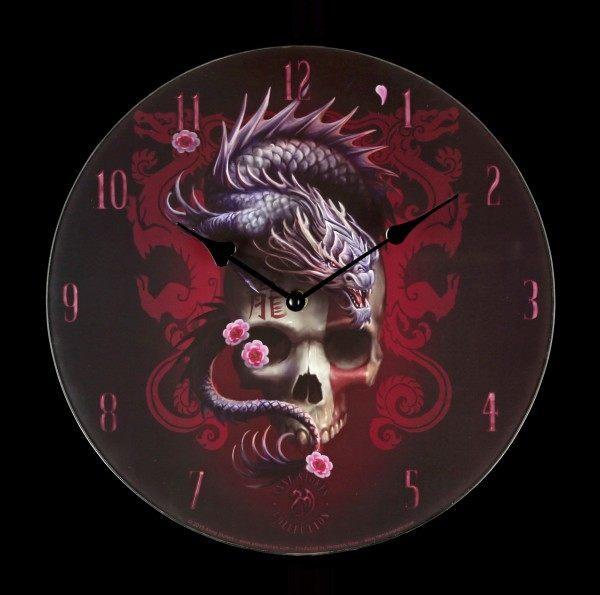 Glas Wanduhr Drache - Eastern Dragon Skull
