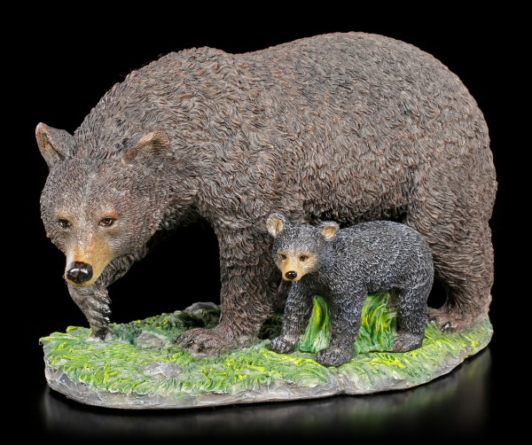 Black Bear Figurine with Cub