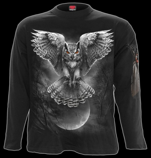 Langarmshirt Gothic Eule - Wings Of Wisdom