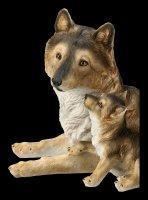 Wolf Figur mit Jungem