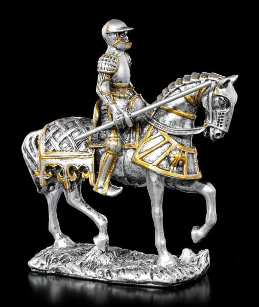 Kleine Ritter Figur auf Pferd mit Lanze