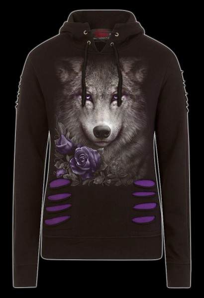 Damen Fantasy Kapuzenpulli - Wolf Roses