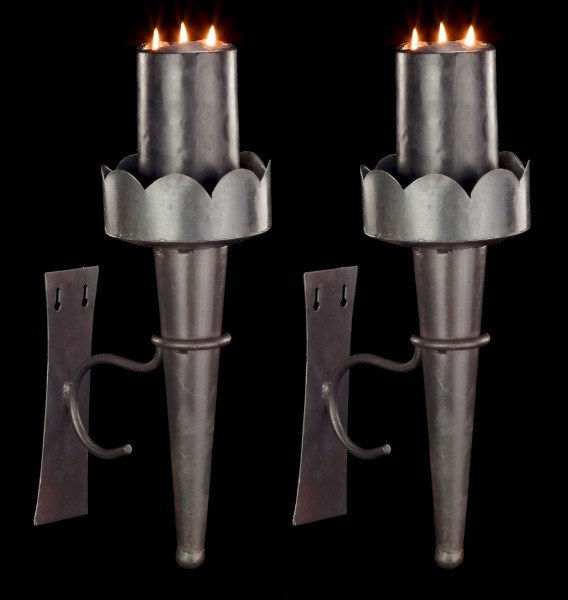 Medieval Wall Torches - Broad with Metal Handle - Set of 2