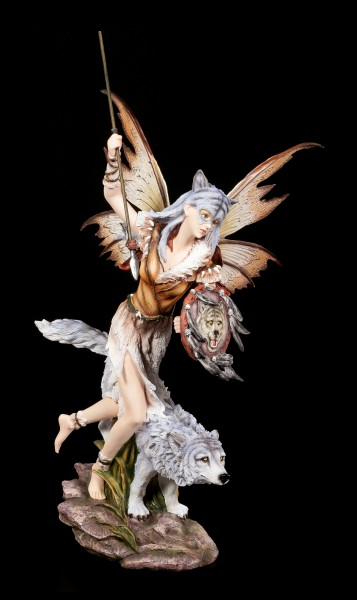 Fairy Warrior Figurine - Mya Ana with Wolf on the Hunt