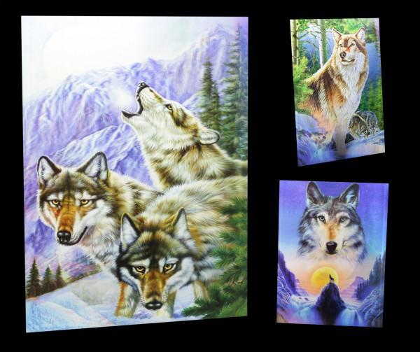 3D-Bild 3in1 mit Wölfen - Wolf Späher