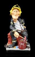 Funny Job Figurine - Fire Fighter grills Sausage