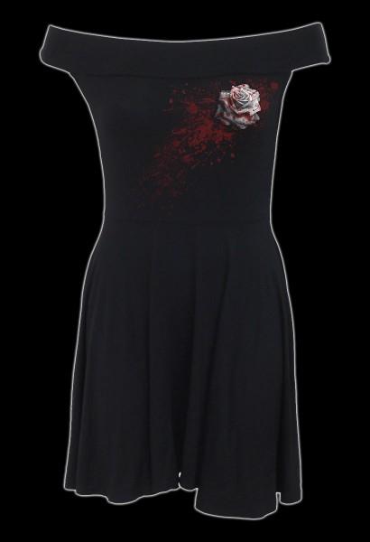 Bardot-Kragen Kleid Gothic - White Rose