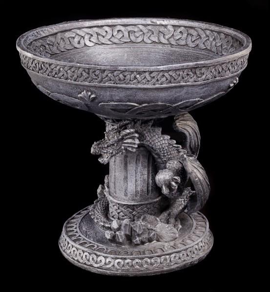 Drachen Figur an Säule mit Schale