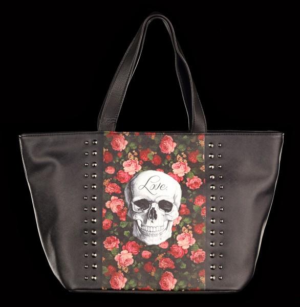 Handtasche mit Totenkopf - Rose Skull
