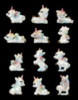Unicorn Figurines with Rainbow Forelock - Set of 12