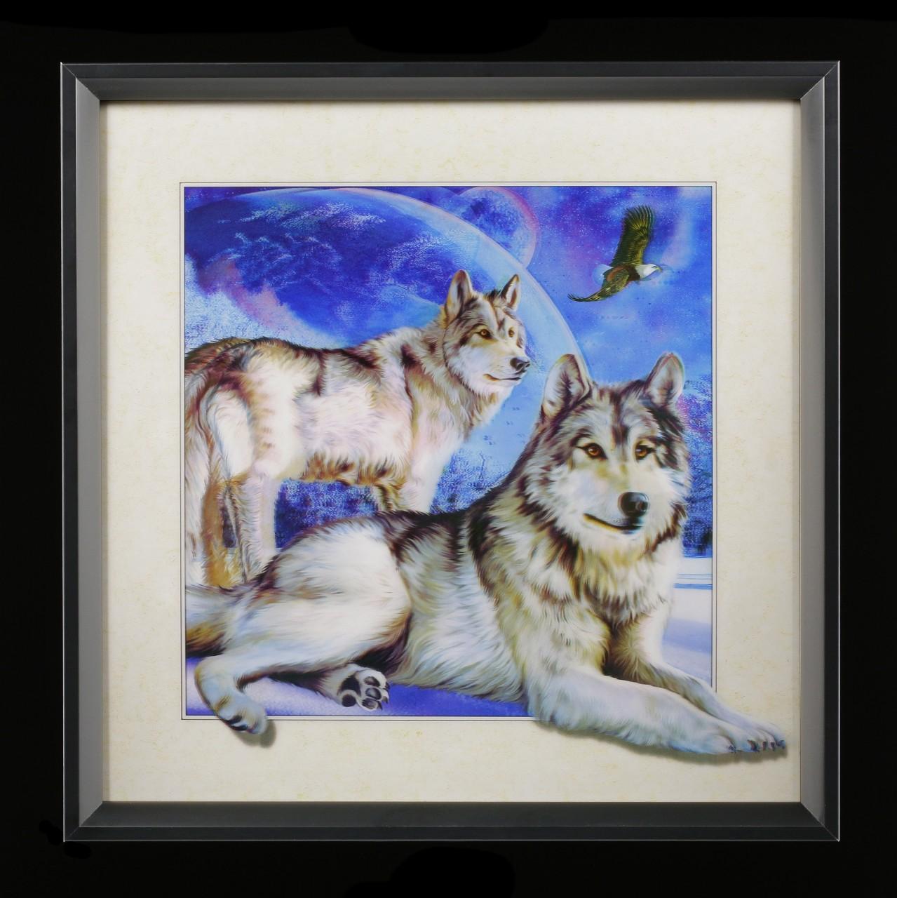 5D Bild im Rahmen - Moon Wolf