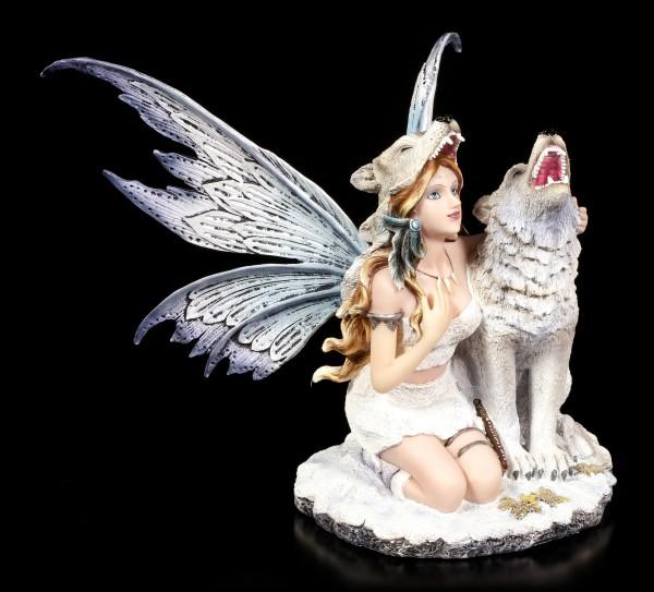 Elfen Figur - Lislya mit Schnee Wolf