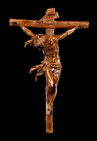 Wall Plaque Crucifix - Jesus on Cross in Wooden Look