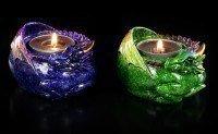 Drachen Teelichthalter 2er Set - Porzellanfinish