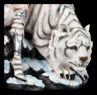 Elfen Figur - Kriegerin mit weißem Tiger