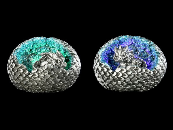 Dragon Figurines LED - Geode Home Set - silver