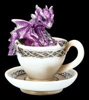 Dragon in Cup Figurine - Dracuccino - purple