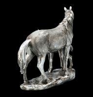 Pferde Figur - Stute mit Fohlen - Antik Silber