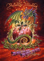 Drachen Weihnachtskarte - Flaming Dragon Pudding