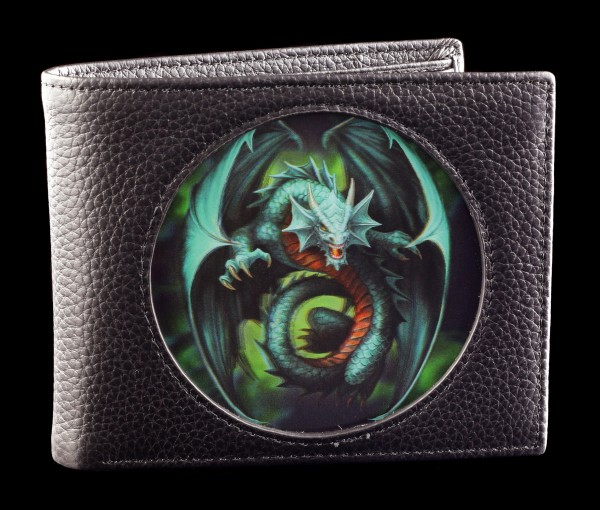 3D Wallet Black - Jade Emerald Dragon by Anne Stokes