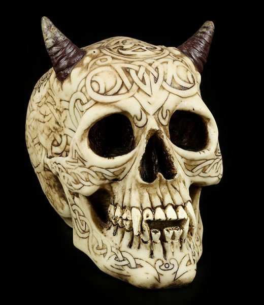 Tribal Devil Skull with Horns