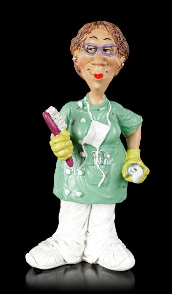 Funny Job Figurine - Female Dental Assistant with Toothbrush