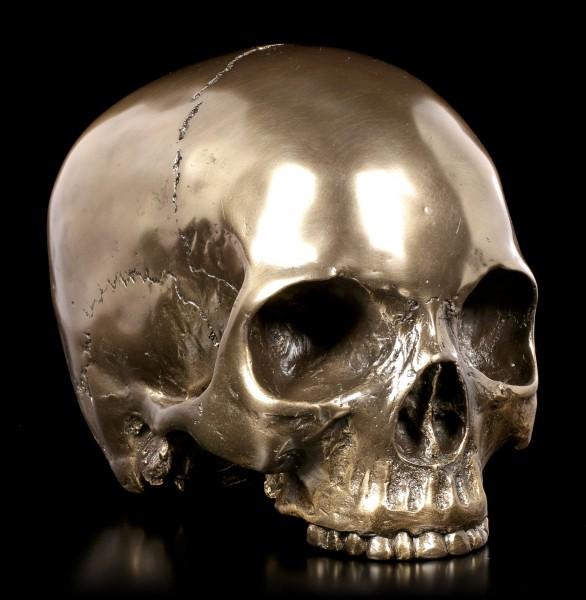 Menschlicher Totenkopf ohne Unterkiefer - bronziert