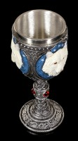 Fantasy Goblet - White Wolf with red Gemstones