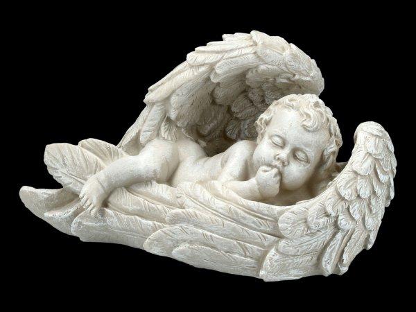 Gartenfigur - Engel in Flügeln schlafend
